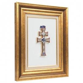 Cuadro con Cruz de Caravaca Pedrería marco Dorado