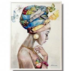 Chica Africana con Turbante y Mariposas