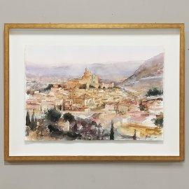 Cuadro con Acuarela Original Vista de Caravaca