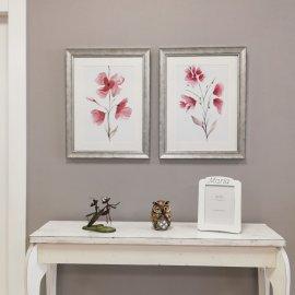 Set dos cuadros Flor marco plata
