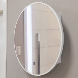 Cubre contador Espejo Circulo Blanco Lacado
