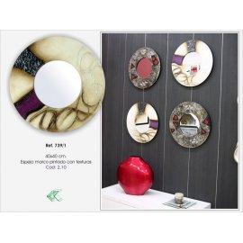 Espejo circulo pintado en marfil