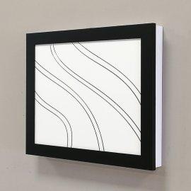 Cubre contador blanco y negro grabado ondas