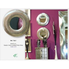 Espejo circulo piel sintética plata