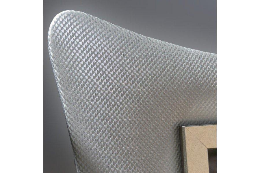Espejo modernista piel sint tica gris emilio rubio for Espejo gris plata