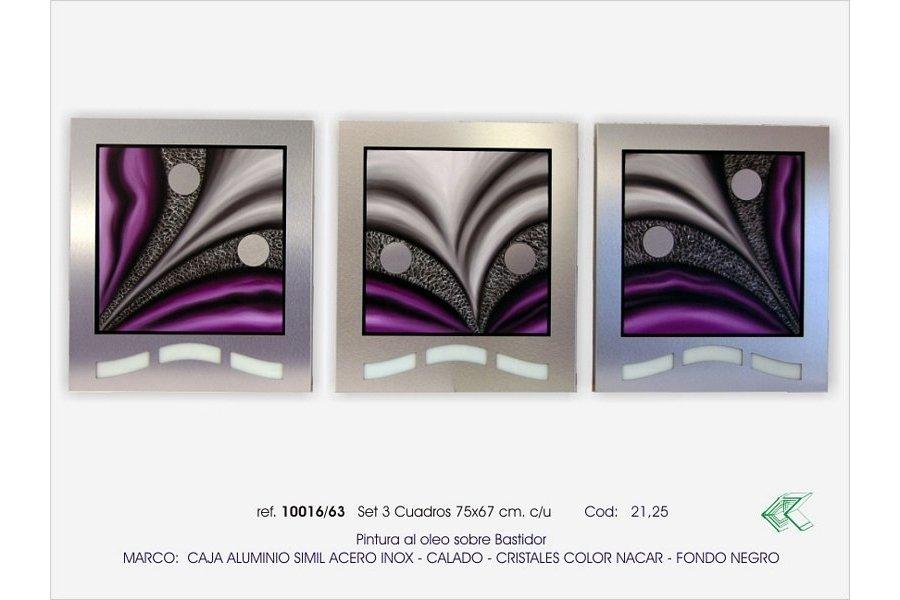 SET TRES CUADROS ALUMINO-OLEO.MORADO - Emilio Rubio