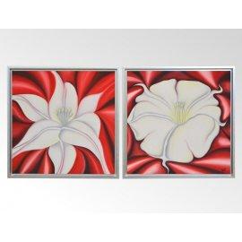 Set dos cuadros oleo + marco plata