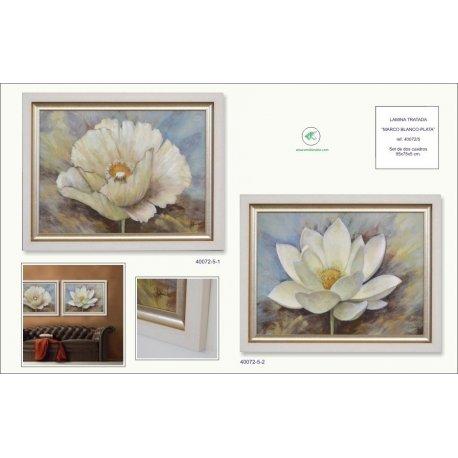 Set dos cuadros marco blanco-plata - Emilio Rubio