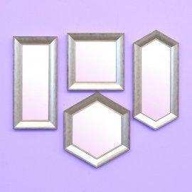 Set 4 espejos marco madera-plata rozada