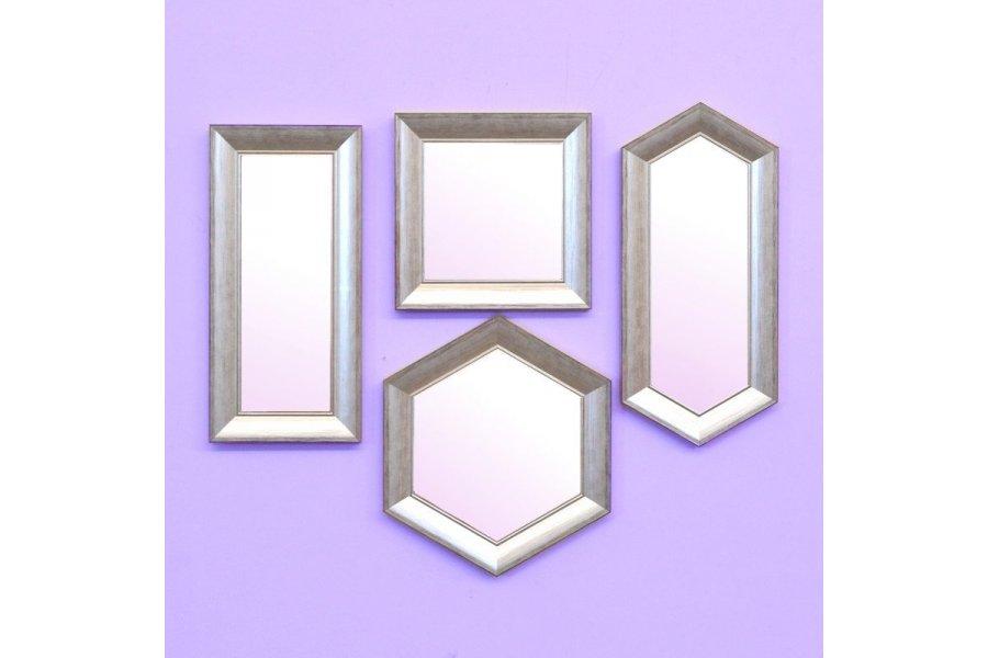Set 4 espejos marco madera-plata rozada - Emilio Rubio