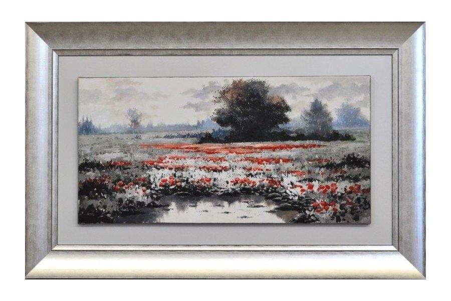 Set dos cuadros paisaje leo marco plata emilio rubio for Cuadros modernos plateados