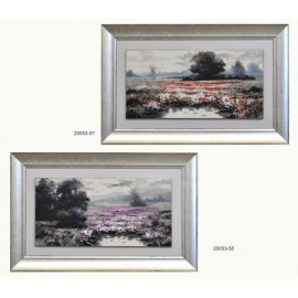 Set dos cuadros paisaje óleo marco plata