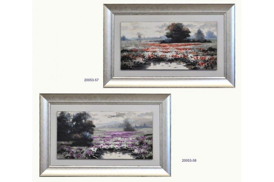 Set dos cuadros paisaje óleo marco plata - Emilio Rubio