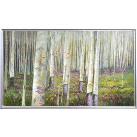 Cuadro óleo paisaje arboles marco plata