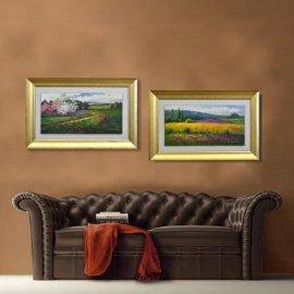 Set dos cuadros oleo paisaje marco oro