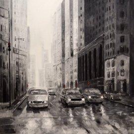 Cuadro coches Nueva York blanco y negro