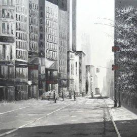 Cuadro Aceras de New York B/N