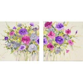 Díptico Flores al óleo lila y fucsia