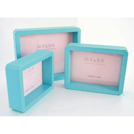 Portafotos azul turquesa tipo caja