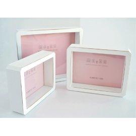Portafotos blanco decapé tipo caja
