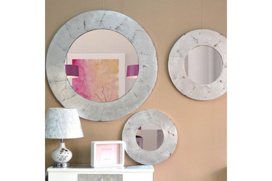 Espejo circulo marco plata emilio rubio for Espejo vintage plateado
