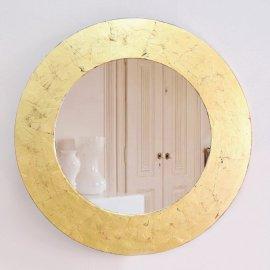 Espejo Circulo marco Oro cuarteado