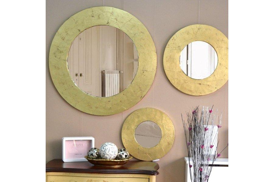 espejo marco circulo dorado