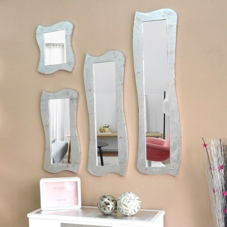 Espejo marco plateado moderno Emilio Rubio