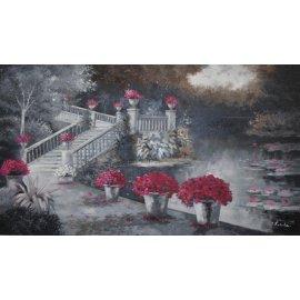 Cuadro jardín del lago en tonos de gris