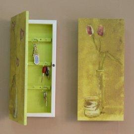Caja para llaves decorativa verde-blanco
